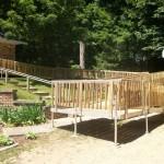 wood modular ramp on dirt
